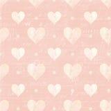 Roze en Witte harten en Manuscriptachtergrond Stock Afbeeldingen