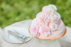 Roze en witte huwelijkscake Royalty-vrije Stock Afbeeldingen