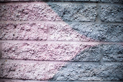 Roze en Zilveren Gray Brick Wall Background stock afbeeldingen