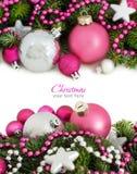 Roze en zilveren Kerstmisornamenten Stock Foto