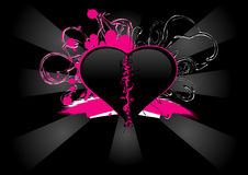 Roze en Zwart Hart Royalty-vrije Stock Foto