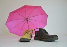 Roze en zwarte paraplu's op een witte achtergrond - liefde De stemming van de herfst Vele roze en magenta asters Het seizoen van  Royalty-vrije Stock Fotografie