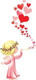 Roze engel stock illustratie