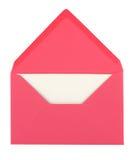 Roze envelop en kaart Stock Foto