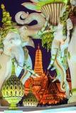 Roze Erawan-standbeelden en Wat Phra Kaew, Bangkok, Thailand Royalty-vrije Stock Afbeeldingen