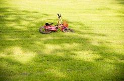 Roze fiets die op groen gras in het park vallen stock fotografie