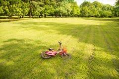 Roze fiets die op groen gras in het park vallen stock afbeelding