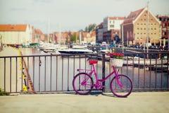 Roze fiets die zich op een brug bevinden Stock Fotografie