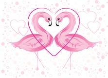 Roze Flamingo en Harten Stock Fotografie