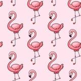 Roze flamingo naadloos patroon royalty-vrije illustratie