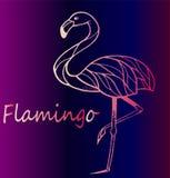 Roze flamingo op een mooie violette gradiëntachtergrond Royalty-vrije Stock Fotografie