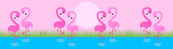 Roze flamingo's vector illustratie