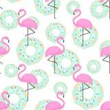 Roze flamingo's en donuts in naadloos patroon op witte achtergrond stock illustratie