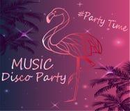 Roze Flamingoaffiche die - de Partij van Disco vinden Stock Foto's