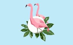 Roze flamingovogel over blauwe achtergrond Royalty-vrije Stock Afbeeldingen