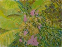 Roze Flowrs en Gele Bladeren Royalty-vrije Stock Afbeelding