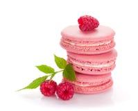 Roze frambozen macaron koekjes Stock Foto