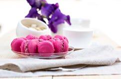 Roze Franse Makarons Stock Foto's