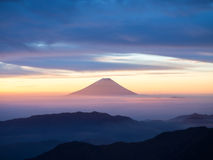 Roze Fuji terwijl zonsopgang Royalty-vrije Stock Afbeeldingen