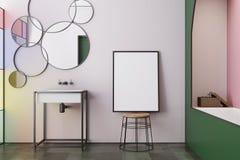 Roze gebrandschilderd glasbadkamers, tongootsteen, affiche Royalty-vrije Stock Foto's