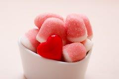 Roze gelei of heemst met suiker in kom Stock Fotografie