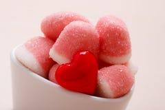 Roze gelei of heemst met suiker in kom Royalty-vrije Stock Foto