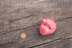 Roze geluk bringer varken met eurocentmuntstuk Stock Foto's