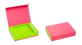 Roze geopend en gesloten doos Royalty-vrije Stock Fotografie