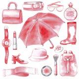 Roze geplaatste vrouwentoebehoren Royalty-vrije Stock Foto's