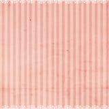 Roze Gestreepte Achtergrond met de versiering van het Kant Royalty-vrije Stock Foto
