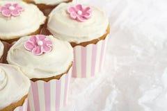 Roze gestreepte horizontale cupcakes Royalty-vrije Stock Afbeeldingen