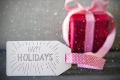 Roze Gift, Kalligrafie, Tekst Gelukkige Vakantie, Sneeuwvlokken Royalty-vrije Stock Afbeelding