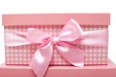 roze giftdozen met linten Royalty-vrije Stock Fotografie