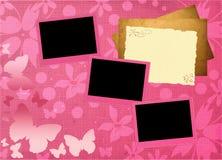 Roze girly kadermalplaatje Stock Fotografie