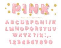 Roze glanzende doopvont De letters en de getallen van ABC voor meisjes Het goud schittert confettien Royalty-vrije Stock Afbeeldingen