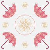 Roze gouden paraplu openwork naadloos patroon Stock Foto