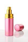 Roze gouden parfumfles reclame Stock Afbeelding
