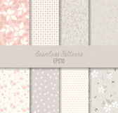 Roze Grey Seamless Patterns Stock Afbeeldingen