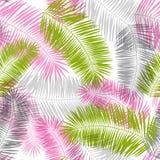 Roze, grijs en groen palmbladen naadloos patroon vector illustratie