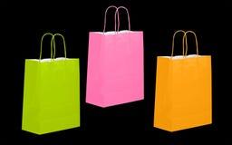 Roze groene en oranje document boodschappentas, geïsoleerde klant, Stock Foto