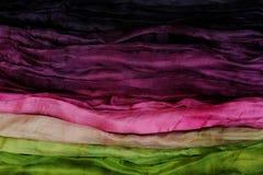 Roze Groene en Violette Zijde als Abstracte Achtergrond Stock Foto's