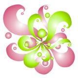 Roze Groene Wervelingen en Cirkels Stock Foto