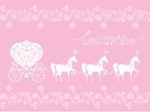 Roze Groetkaart met een kantornament. Bloemenbedelaars Royalty-vrije Stock Fotografie