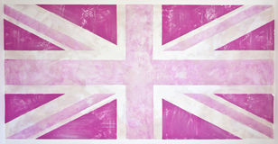 Roze Grunge Union Jack Royalty-vrije Stock Afbeeldingen