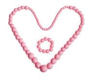 Roze Halsband met de vorm van het Hart, armband in centrum Royalty-vrije Stock Foto's