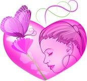 Roze hart stock illustratie
