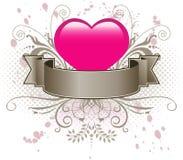 Roze hart en banner Royalty-vrije Stock Afbeelding