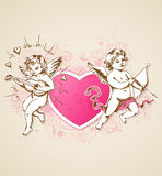 Roze hart en Cupido's Stock Fotografie