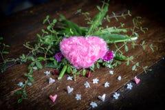 Roze Hart en Roze document hart stock afbeelding