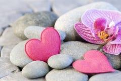 Roze hart en orchidee Royalty-vrije Stock Afbeelding
